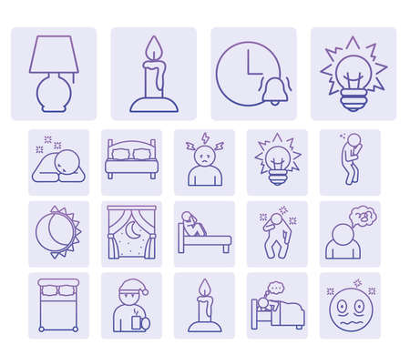 night lamp and insomnia icon set over white background, gradient style, vector illustration 向量圖像