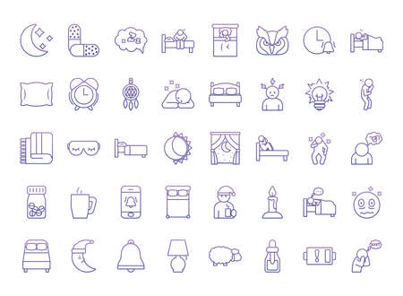 icon set of insomnia over white background, gradient style, vector illustration