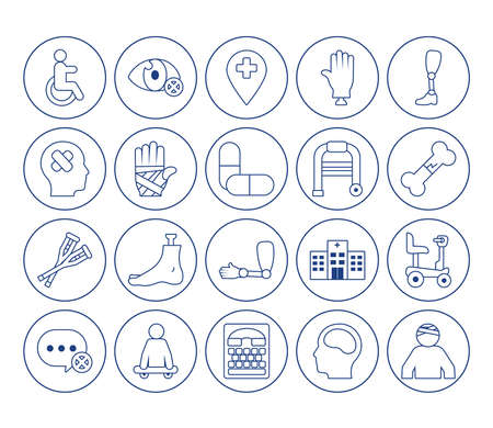 hand with bandages and disabilities icon set over white background, line style, vector illustration Ilustração