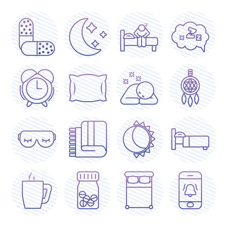 icon set of insomnia medicine pills over white background, gradient style, vector illustration