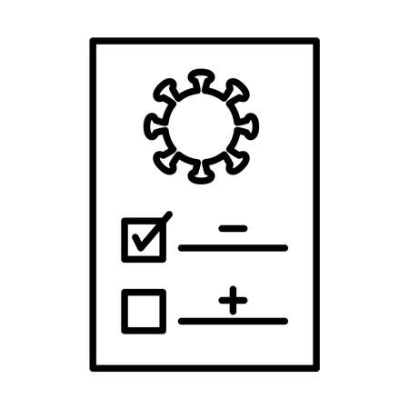 covid test document icon over white background, line style, vector illustration Vectores