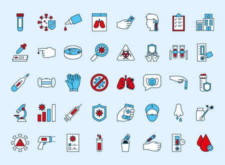 icon set of covid test over white background, line and fill style, vector illustration