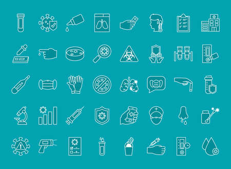 icon set of covid test over turquoise background, line style, vector illustration