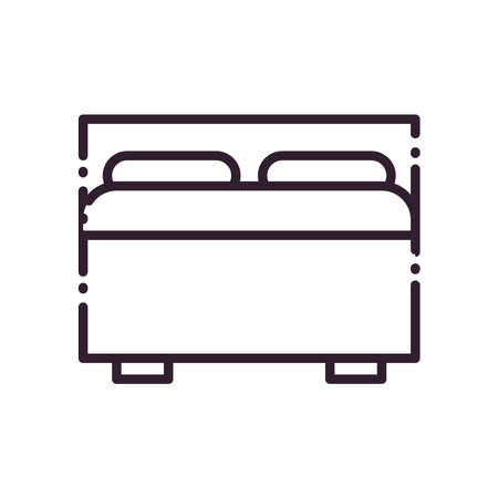 Home bed line style icon design, Bedroom room sleep relaxation rest hotel relax comfort and apartment theme Vector illustration