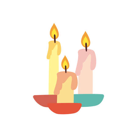 Candles free form style icon design, Fire flame candlelight light spirituality burn and decoration theme Vector illustration