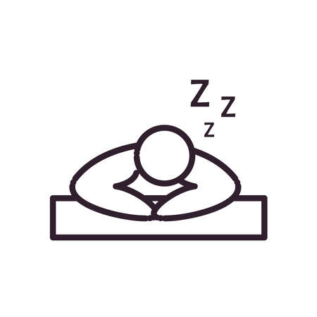 sleeping man avatar line style icon design, insomnia sleep and night theme Vector illustration Иллюстрация