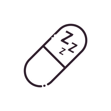sleeping pill line style icon design, insomnia sleep and night theme Vector illustration 向量圖像