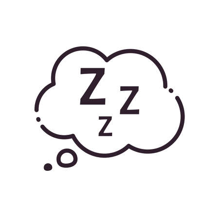 sleeping cloud bubble line style icon design, insomnia sleep and night theme Vector illustration
