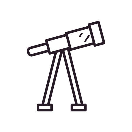 Telescope line style icon design, Science discovery observe astronomy sky lens instrument space and discover theme Vector illustration