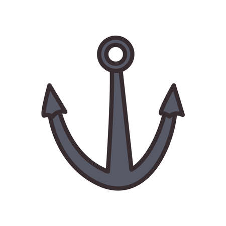 Anchor line and fill style icon design Sea nautical ocean navigation travel underwater water and marine theme Vector illustration
