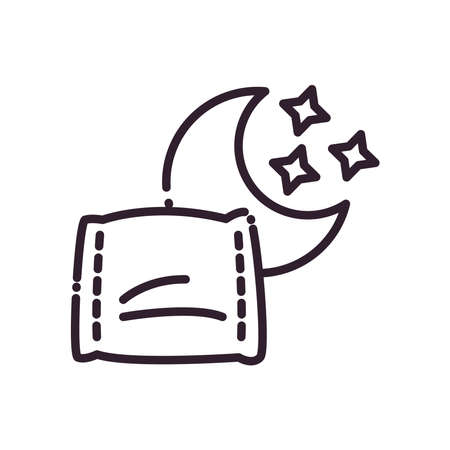 sleeping pillow and moon line style icon design, insomnia sleep and night theme Vector illustration 向量圖像
