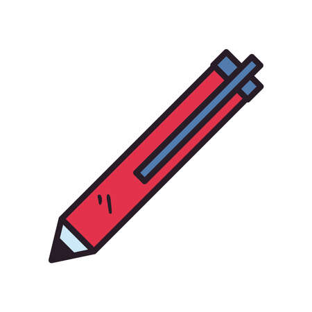 Pen line and fill style icon design, Tool write office object instrument equipment draw art and learn theme Vector illustration