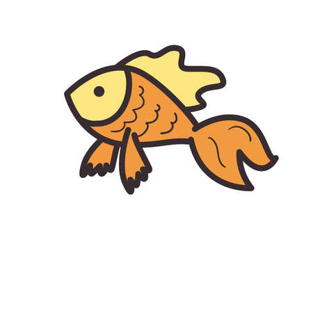 Fish animal line and fill style icon design Sea life ecosystem fauna and ocean theme Vector illustration
