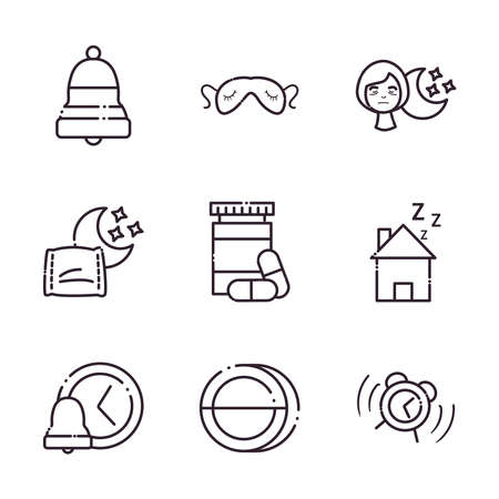 insomnia line style icons collection design, sleep and night theme Vector illustration 向量圖像
