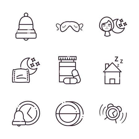 insomnia line style icons collection design, sleep and night theme Vector illustration 版權商用圖片 - 156061176