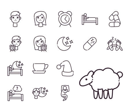 insomnia line style set of icons design, sleep and night theme Vector illustration