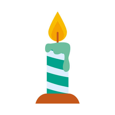 candle icon over white background, flat style, vector illustration