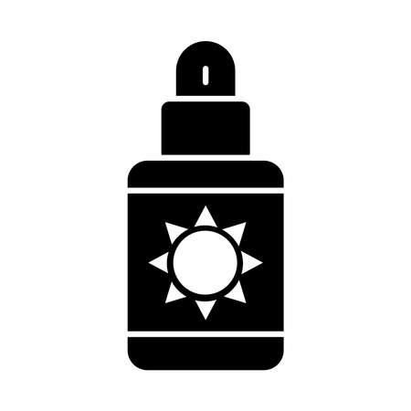 sunscreen bottle icon over white background, silhouette style, vector illustration Illusztráció