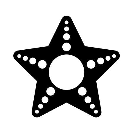 sea star icon over white background, silhouette style, vector illustration