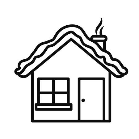 house with snow on the roof over white background, line style, vector illustration