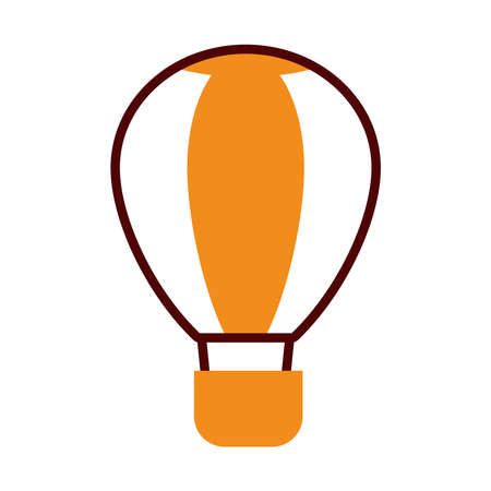hot air balloon icon over white background, half line half color style, vector illustration