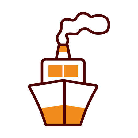 cruise icon over white background, half line half color style, vector illustration
