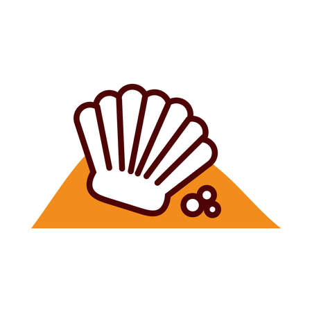 shell on the sand icon over white background, half line half color style, vector illustration 免版税图像 - 156304839