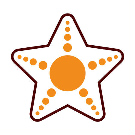 sea star icon over white background, half line half color style, vector illustration