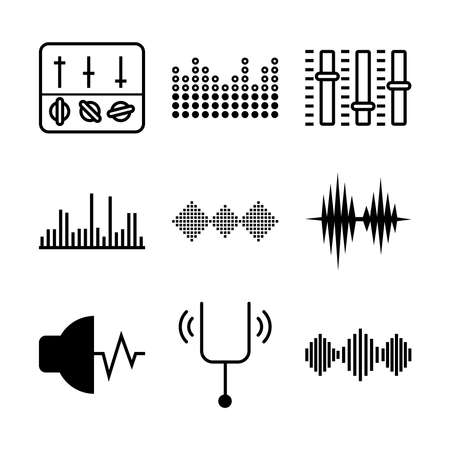 icon set of sound waves and equalizer over white background, vector illustration