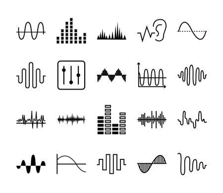 sound waves and equalizer icon set over white background, vector illustration Vettoriali