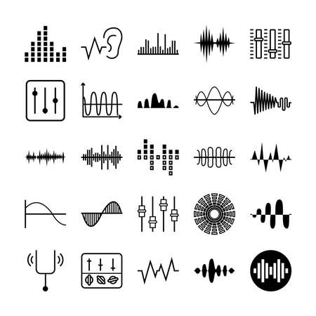 tunning fork and sound waves icon set over white background, vector illustration Stock Illustratie