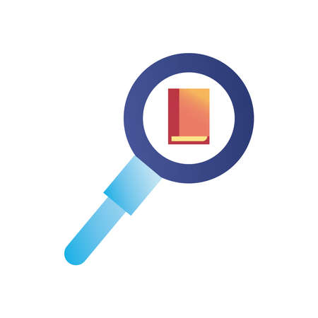 book in lupe gradient style icon design, search tool and magnifying glass theme Vector illustration
