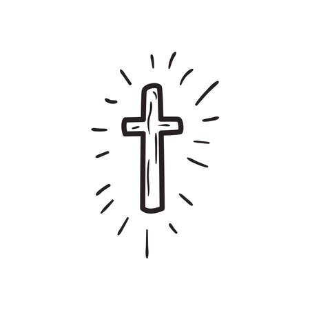 cross with lines free form line style icon design, Religion culture belief religious faith god spiritual meditation and traditional theme Vector illustration Ilustracja