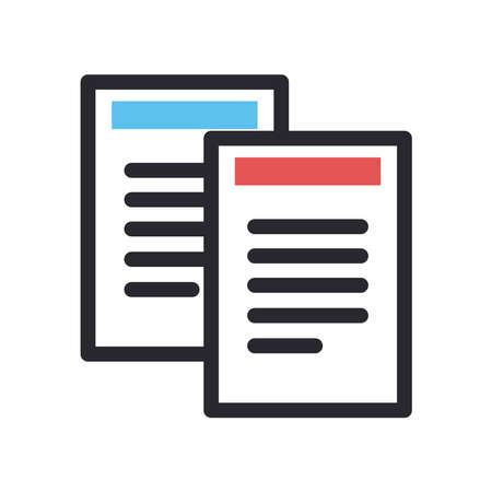 Documents line and fill style icon design, Data archive and information theme Vector illustration