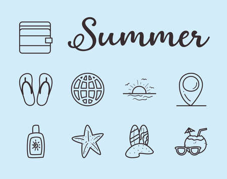 Summer line style set icons design, vacation and tropical theme Vector illustration