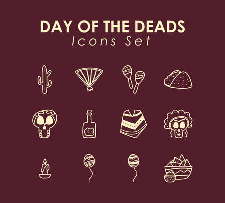 Mexican day of deads free form line style set of icons design, Mexico culture theme Vector illustration