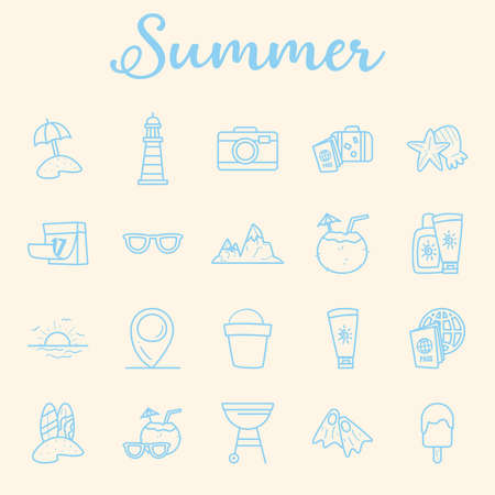 Summer line style collection of icons design, vacation and tropical theme Vector illustration