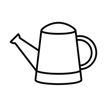 watering can icon over white background, line style, vector illustration