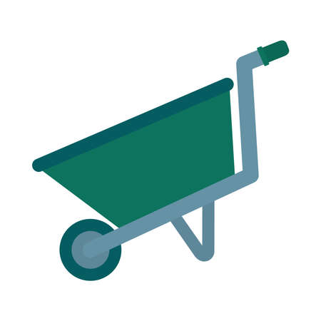 gardening wheelbarrow icon over white background, flat style, vector illustration