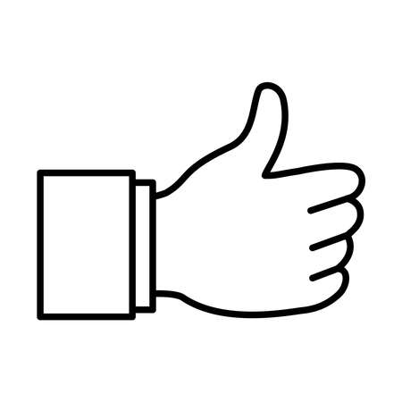 Hand gesture with thumb up over white background, line style, vector illustration