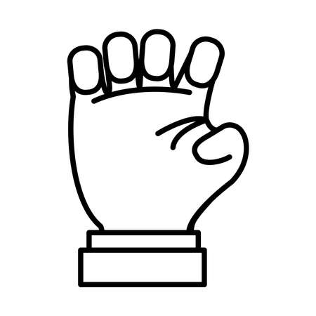 Hand gesture showing S letter over white background, line style, vector illustration Illusztráció