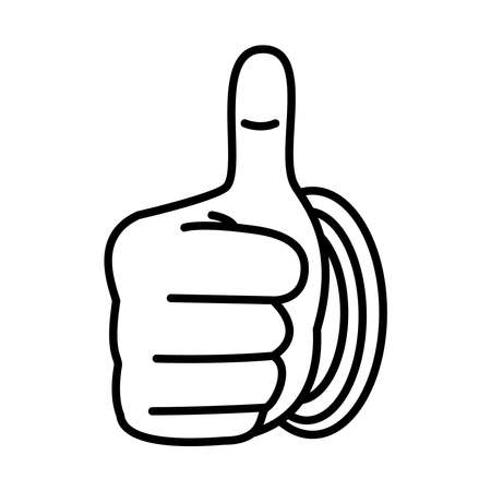 Hand gesture with good expression over white background, line style, vector illustration