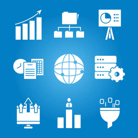 icon set of data analysis and global network over blue background, silhouette style, vector illustration