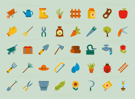 icon set of gardening over green background, flat style, vector illustration