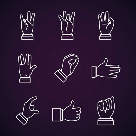 Hands sign Language and expressions icon set over purple background, line style, vector illustration 向量圖像