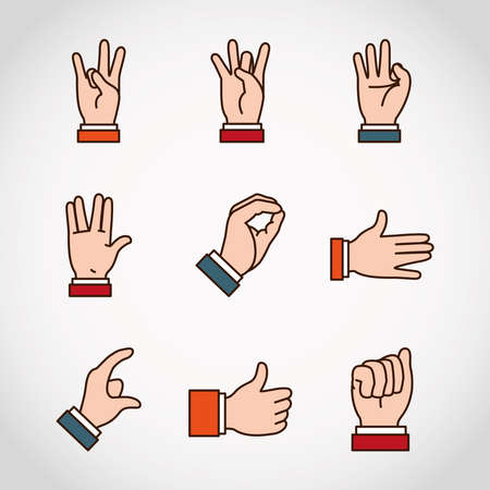 Hands sign Language and expressions icon set over white background, line and fill style, vector illustration