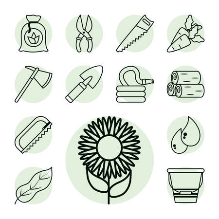 sunflower and gardening icon set over white background, line style, vector illustration