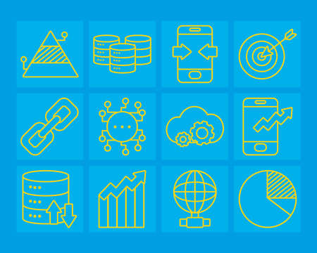 strongbox and data analysis icon set over blue background, line style, vector illustration