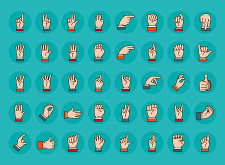 Hands sign Language icon set over turquoise background, line and fill style, vector illustration