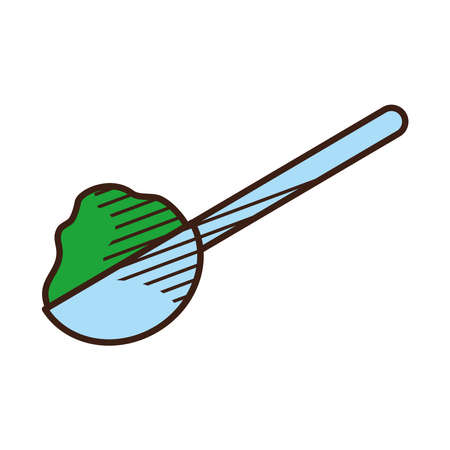 spoon with tea icon over white background, hand draw style, vector illustration